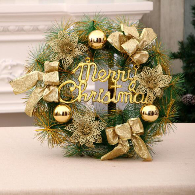 Sanyi 30/40CM Christmas Wreath Door Wall Ornament Xmas Garland Decoration Bowknot Jingle Bell Christmas & Sanyi 30/40CM Christmas Wreath Door Wall Ornament Xmas Garland ...