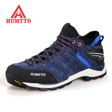HUMTTO Mens High Top Leather Outdoor Hiking Trekking Shoes Sneakers For Men Sport Camping Tourism Mountain Tracking Man