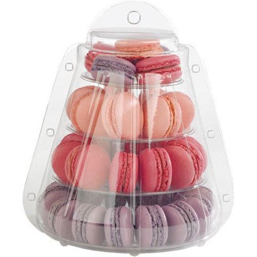 4 Tier PVC Macaron carry-out kutusu düğün macaron kutusu ile - Tatiller ve Partiler Için - Fotoğraf 3