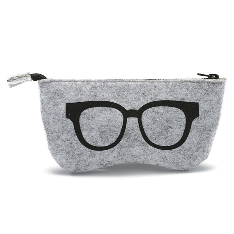 High Quality Felt Cloth Sunglasses Cases  For Women Glasses Bag Eyeglasses Box For Men Zipper Glasses Case Myopia Eyeglass Pouch