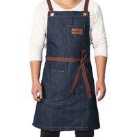 WEEYI Denim Lagon Cozinha que Cozinha o Avental com Ajustável Cinta de Algodão Grandes Bolsos Azul 34x27 Cm para Homens e mulheres Homewear