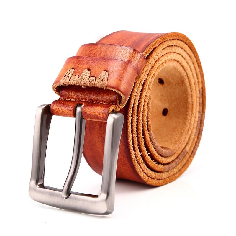 Vintage Genuine Leather Belt Men Brown Designer Cowskin Jeans Belt Needle Buckle Waist Strap Business Man Gift Waistband