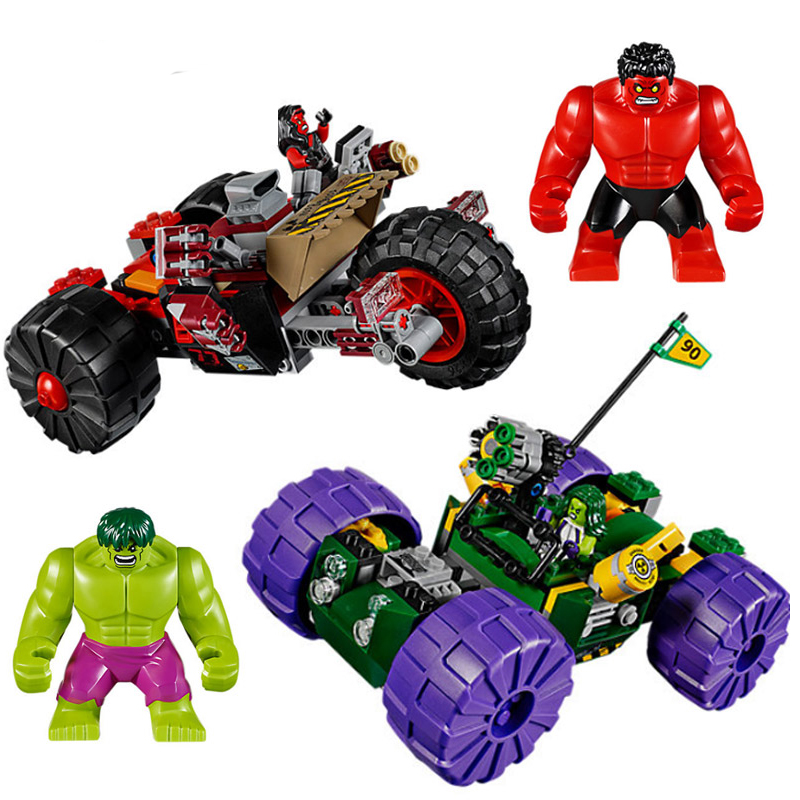New Super Heroes Red Hulk Vs Geen Hulk Marvel Fit Legoings Avengers Figures Model Building Blocks Bricks Toys 76078 Gift Kid Boy in Blocks from Toys Hobbies