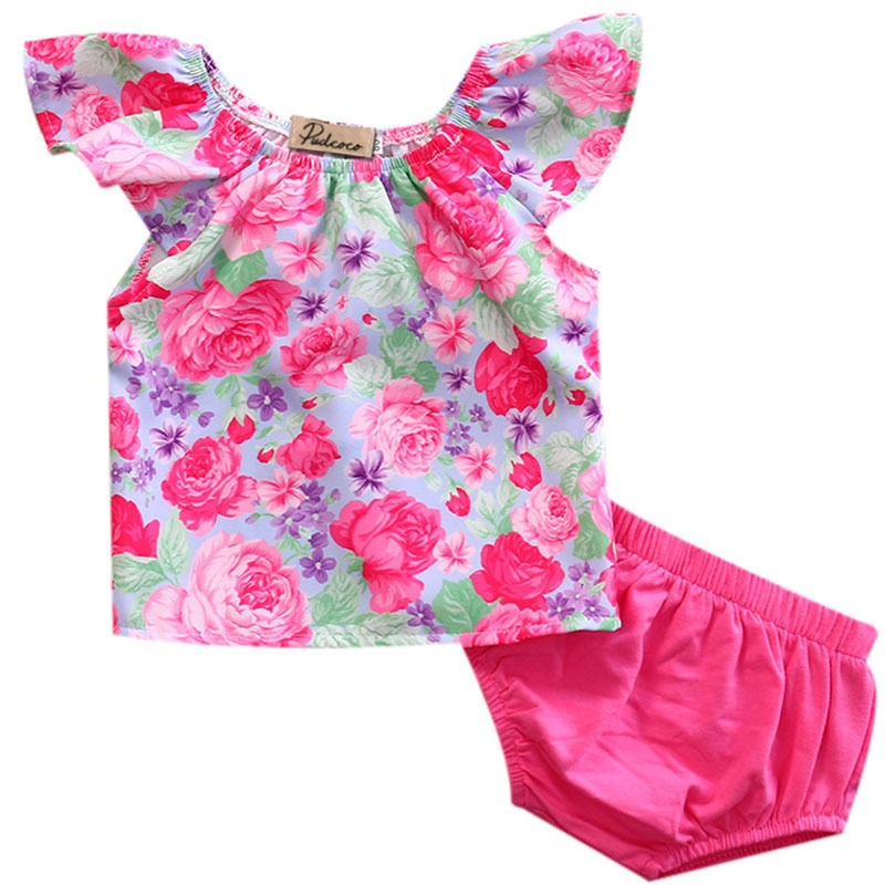 New Fashion Newborn Toddler Baby Girl Clothes Off Shoulder Floral Top+Pants Outfit Set Sunsuit