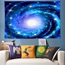 Гобелен с галактикой мандала богемная настенная подвеска синий