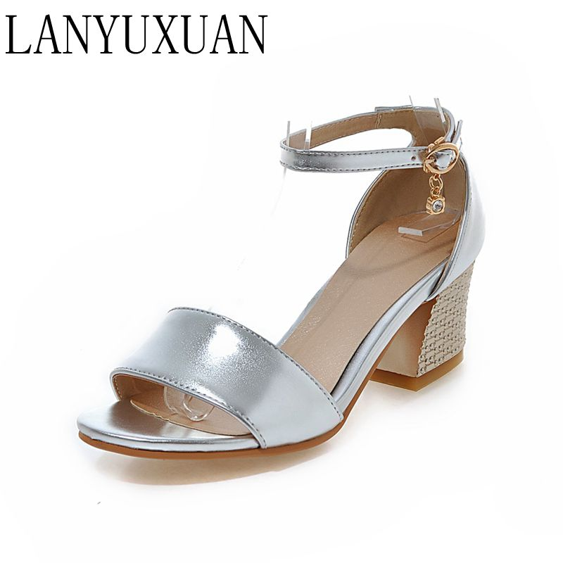 LANYUXUAN 2017 New Fashion Concise Plus Big &small Size 30- 48 Sandals Summer Ladies Wedding Shoes Party Dance Pumps 8077-2 lanyuxuan 2017 new hot big