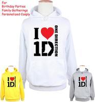 Unisex Moda Fascia di I Love 1D One Direction Design Con Cappuccio delle Donne degli uomini del Ragazzo della ragazza Felpa Tops stampato Hoody