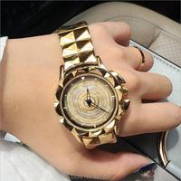 2017 새로운 여성 시계 스테인레스 스틸 시계 레이디 빛나는 회전 드레스 시계 큰 다이아몬드 돌 손목 레이디 로즈 골드 시계