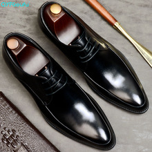 QYFCIOUFU 2019 Summer New Arrival Mens Oxford Dress Shoes Formal Wedding Office Male Footwear Genuine Cow Leather Italian