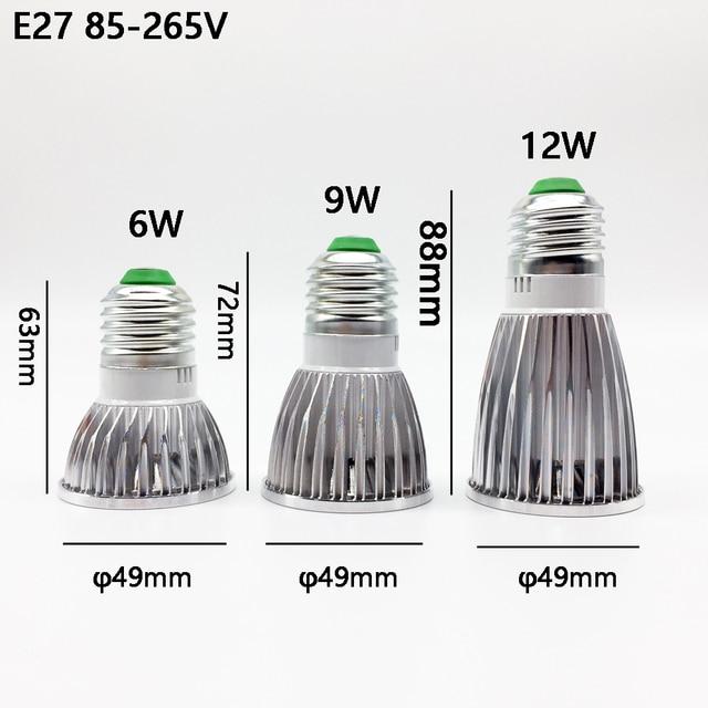 10 pièces Super lumineux GU10 ampoule dimmable chaud/blanc 85-265 V 6 W 9 W 12 W GU10 COB lampe LED GU10/E27/E14 LED spot
