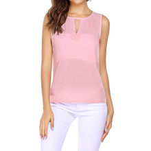 Feitong Zomer Mode Chiffon Blouse Vrouwen Hollow Out O-hals Losse Blouse Tee Top Dames Shirt Casual Mouwloze Vrouwelijke Blusa(China)