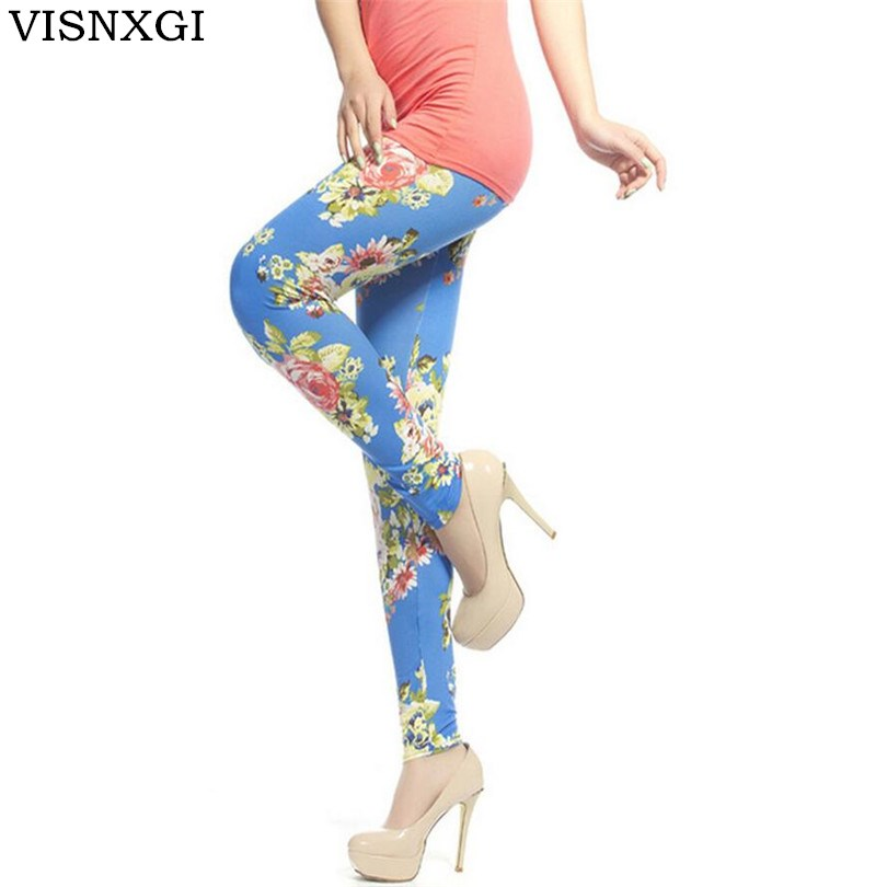 VISNXGI New Fashion Women   Leggings   Printing Fitness   Legging   Sexy Silm High Elasticity Leggins High Waist Stretch Trouser Pants