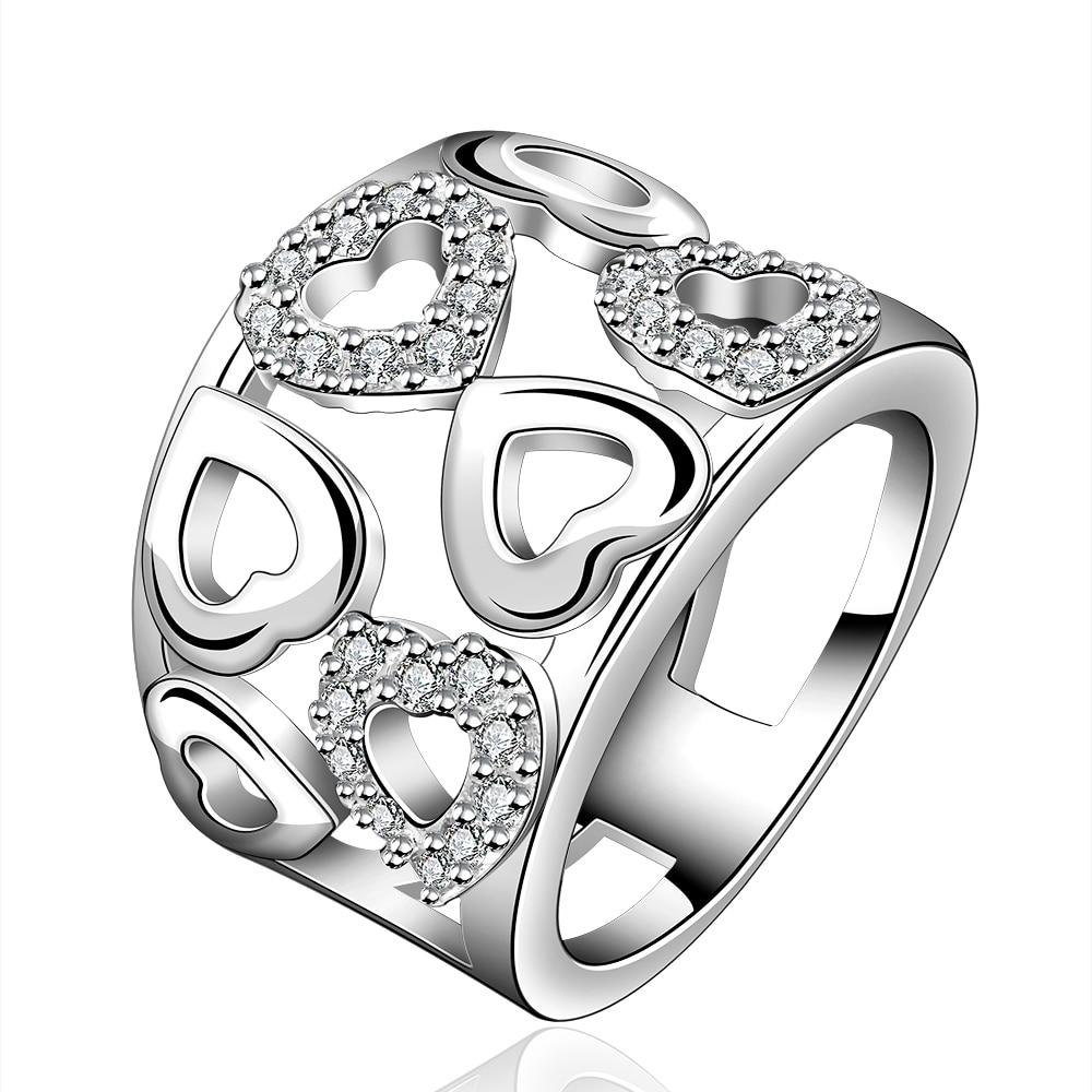 2016 Hot 925 jóias de prata do amor do coração 925 anel de cristal de prata com pedra natural grandes anéis para mulheres/homens casamento