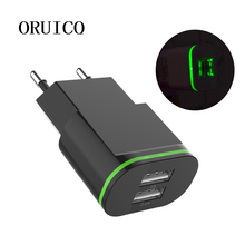 LED Light USB Charger 2A EU US Fast Charging Wall Adapter Micro Cable for xiaomi redmi 4X note 5 plus note5a 4a