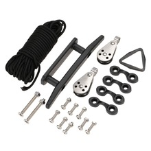 19 in 1 Kayak Canoe Anchor Trolley Kit Set Pulley Cleat Nylon Pad Eyes 30ft Rope 10pcs Screws with Nuts Accessories