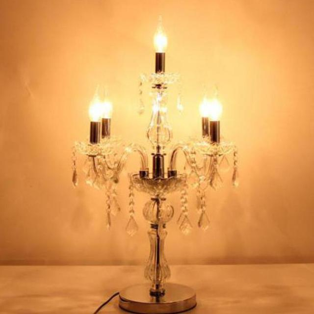 Nice Living Room 5 Arm Chrome Led Candle Holders Clear Crystal Table Lamps  French Wedding Glass