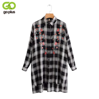 GOPLUS Sweet Flower Embroidery Shirt Dress Women Casual Turn down Collar Plaid Dress Female 2019 Spring Long Sleeve Dresses