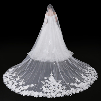 High quality 2019 Real Photos Appliqued 5M Long Bridal Soft Tulle Lace Cathedral Wedding Veil New Bridal Veil