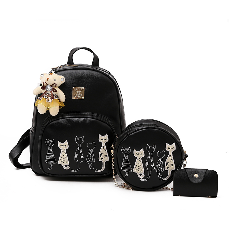 Fashion Women Leather 4pcs/ Set Composite Backpack Small Cat School Bags for Teenagers Girls Travel Pu Backpacks Shoulder Bags fashion women leather 5pcs set composite backpack with bear school bags for teenagers girls lady travel pu backpacks sac a dos