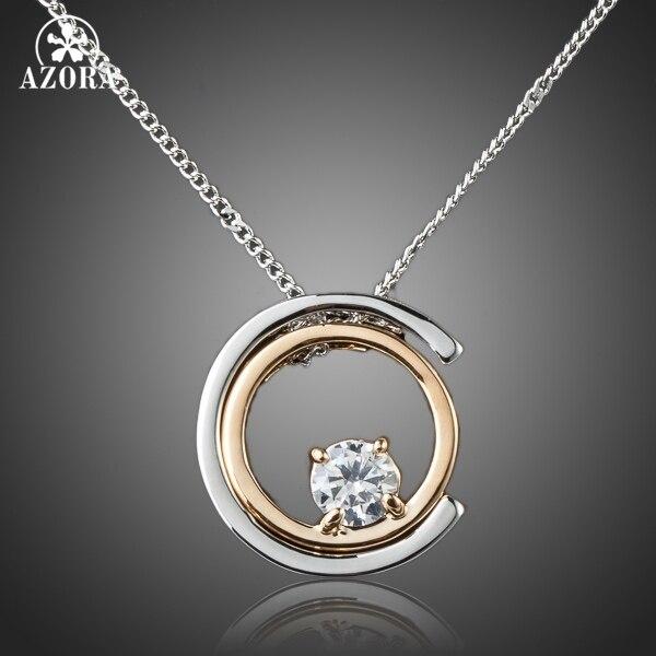 AZORA Classic White Gold Color White Stellux Austrian Crystal Pendant Necklace T