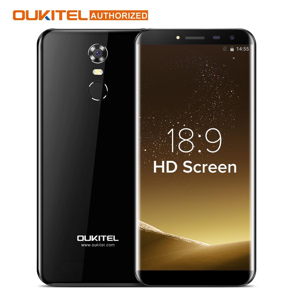 MTK6580A Oukitel C8 5.5 Polegada 18:9 HD Tela Do Telefone Móvel Quad núcleo 2 GB RAM 16 GB ROM Android 7.0 13MP 3000 mAh Toque ID celular