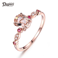 DUPUY 2018 Hot Sale New Pave Ruby&Diamond 6*8mm Oval Cut Natural Morganite Engagement Ring 14K Rose Gold Art Deco Style F0009MO