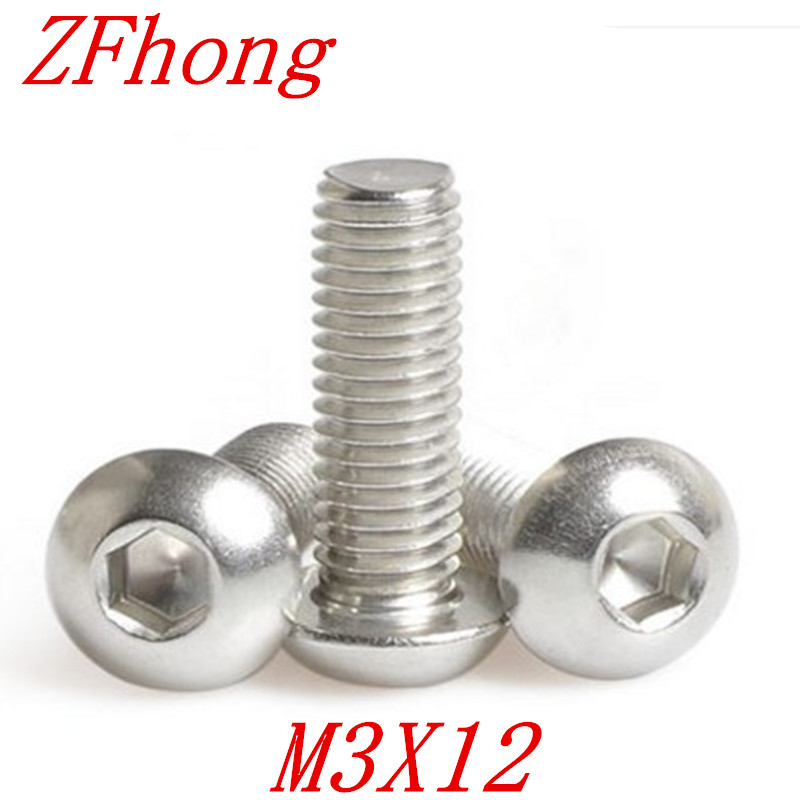 100PCS ISO7380 m3*12 M3 X 12 Hexagon Socket Button Head Screw Stainless Steel a2-70 iso 100 в перми