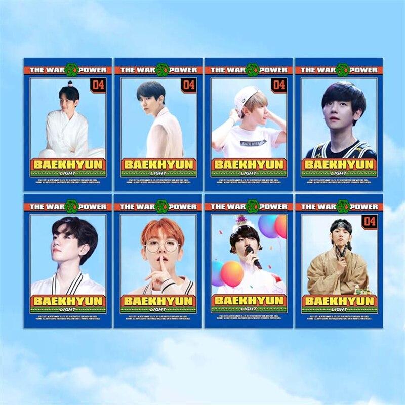 KPOP EXO BAEKHYUN CHANYEOL SEHUN Album Transparent Photo Card Hip Hop PVC Cards Self Made LOMO
