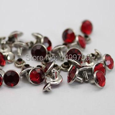 Hot Sell DIY 100Sets 7MM Red Acrylic Crystals Rhinestone Rivets Rapid - Arts, Crafts and Sewing