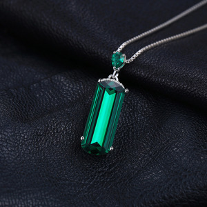 Image 3 - Jpalace Simulated Nano Emerald Pendant Necklace 925 Sterling Silver Gemstones Choker Statement Necklace Women No Chain