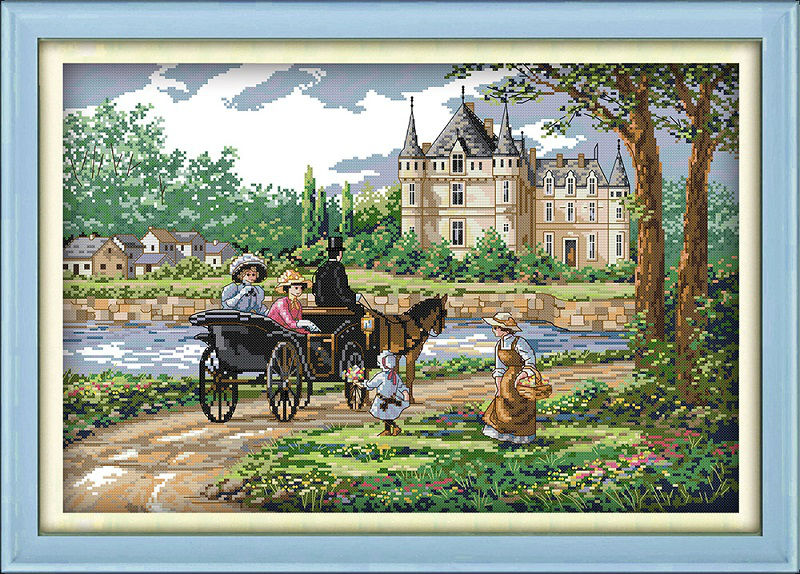 Suburban scenery Printed on Canvas DMC Counted Kinesisk Cross Stitch Kits Printet Sting Sett Broderi Needlework