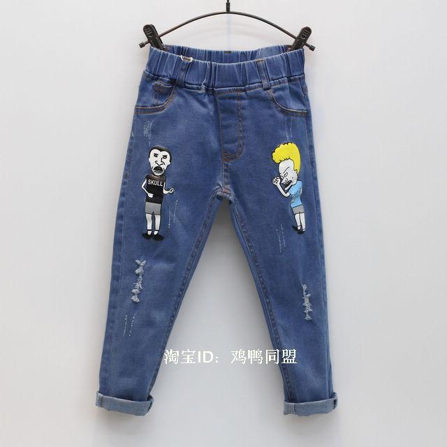 2-7Yrs Children Pants girls jeans Spring Baby Girl Cartoon denim Trousers Fashion Children Clothing Jeans boys Kids Jeans pants