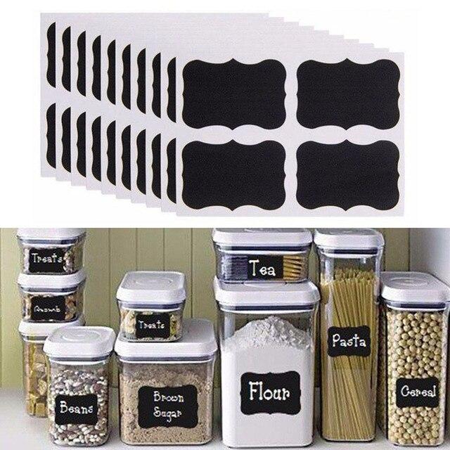 40 قطعة/المجموعة PVC الحرفية ملصقات السبورة السوداء أسود المطبخ زجاجات ملصقا ل جرة المنظم يمكن تسميات السبورة ديكور المنزل