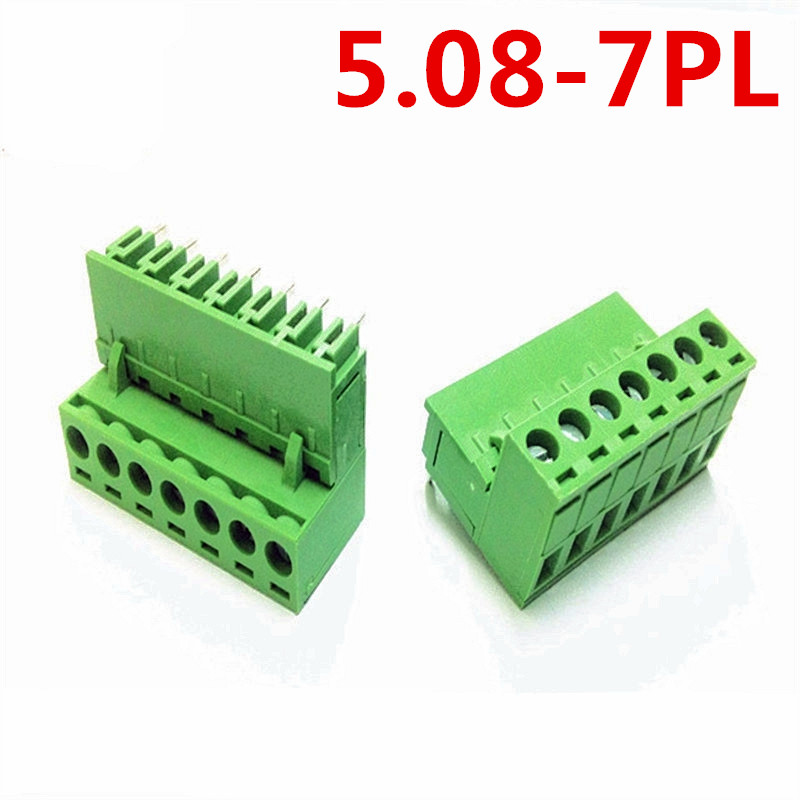 10sets 7Pin PCB Electrical 5.08mm Pitch 300V 10A Plug Right Angle pin Green connector screw terminal block Pin header and socket