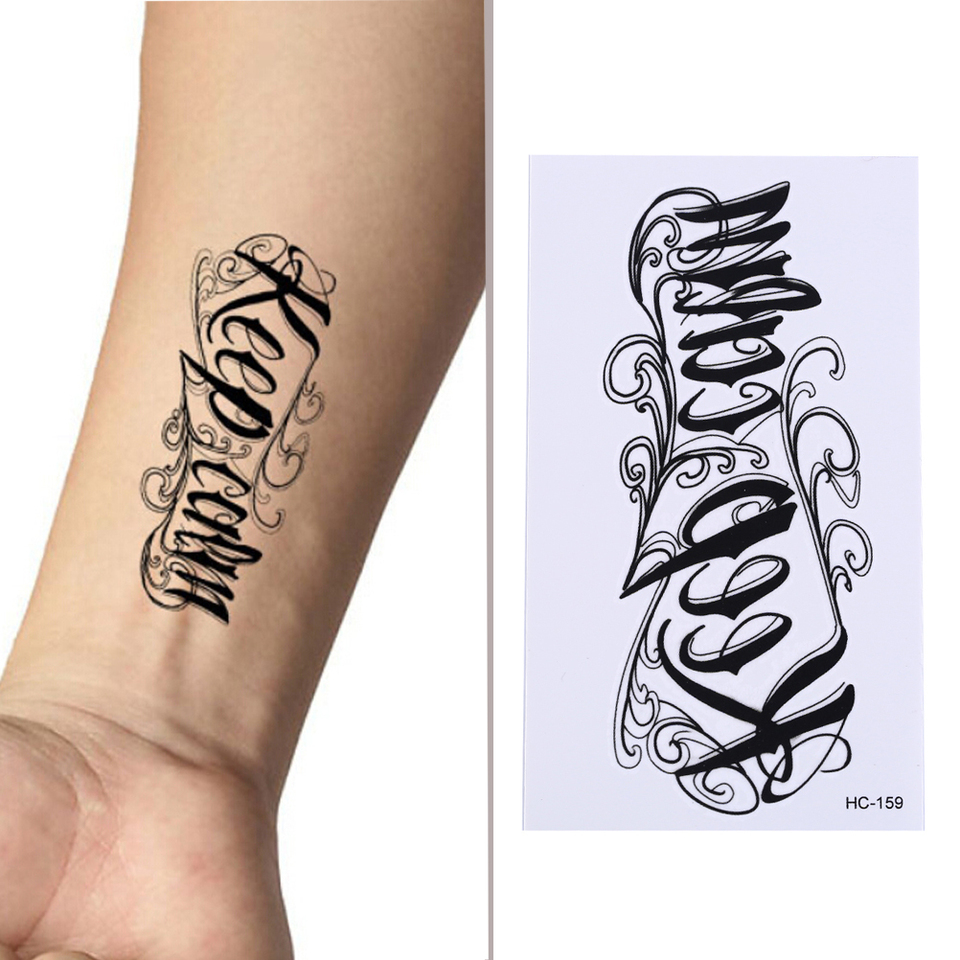 Sex Products Waterproof Temporary Body Art Tattoos 3d Letter Design Small Tattoo Sticker For Men And Women Temporary Tattoos Aliexpress