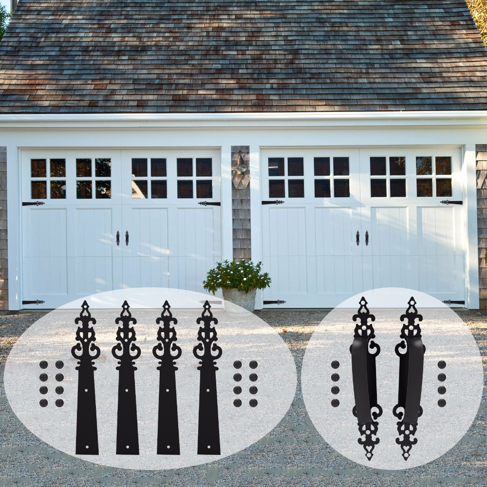 LWZH Decorative Carriage House Garage Handle Hinge Accent Set Sliding Barn Door Hardware Kit Braided Style 2 Handles 4 Hinges