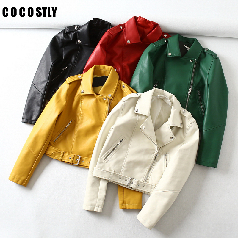 Green   Leather   Jackets Women Moto Bomber Faux   Leather   Biker Jacket Zip Coats Belt chaqueta Jack jaqueta couro blouson cuir femme