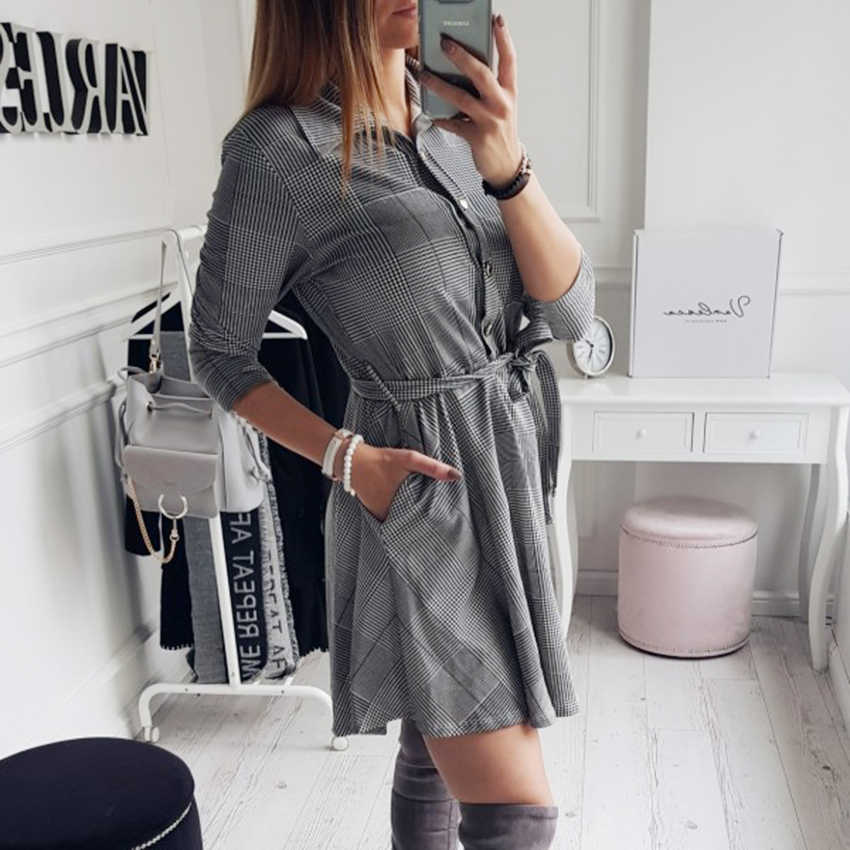 2019 yaz tarzı moda kadınlar seksi ekose elbiseler Zarif yarım kollu kemer Rahat ince A-Line elbiseler