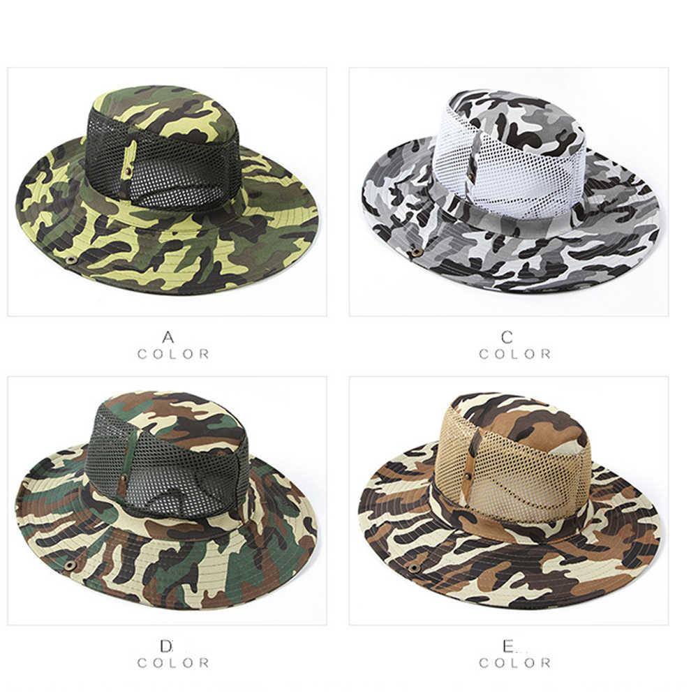 3bece4cfe54 ... Men Women Army Camo Hunting Fishing Hiking Outdoor Cap Bucket Boonie  Sun UV Hat Camouflage Mesh ...