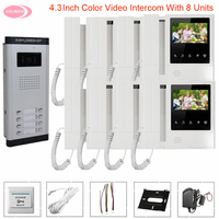 Intercom in The Apartments Video Intercom System Video Surveillance System Video Phone 3 8 Familles Video Call With Monitors Kit