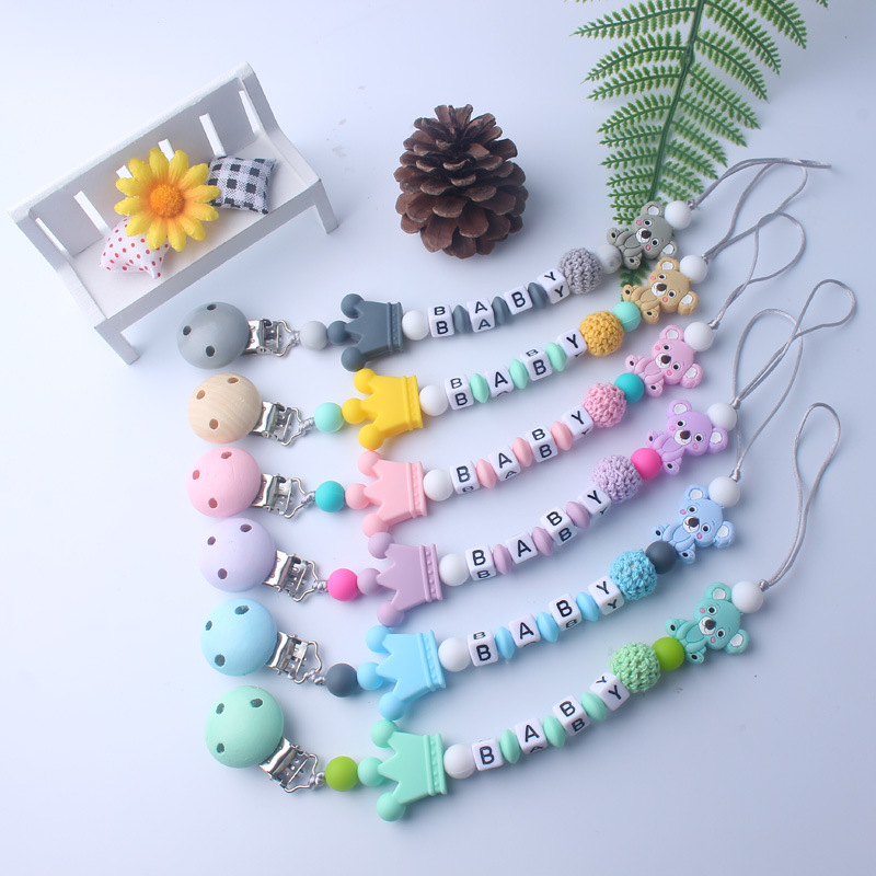 New Food Grand Baby Pacifier Silicone & Wood Beads Anti-drop Chain Cartoon Animal Pacifier Clips Chains Baby Teething Dummy Clip