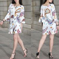 New Women Summer Casual Basic printed Sexy Floral Dress patchwork off shoulder beach Full sleeve Loose Large Size