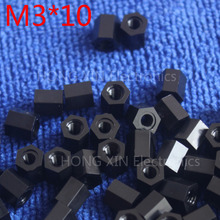 M3*10 10mm 1 pcs black nylon Black Nylon Hex Female-Female Standoff Spacer Threaded Hexagonal Spacer Standoff Spacer brand new цена