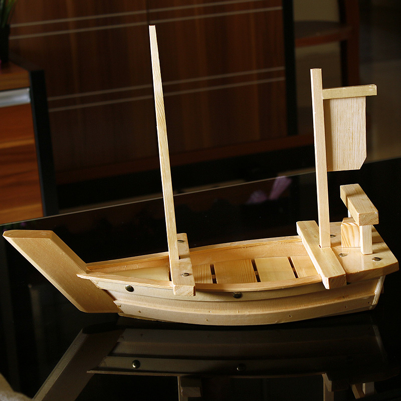 cm de madera barco de sushi sashimi bandeja para servir comida