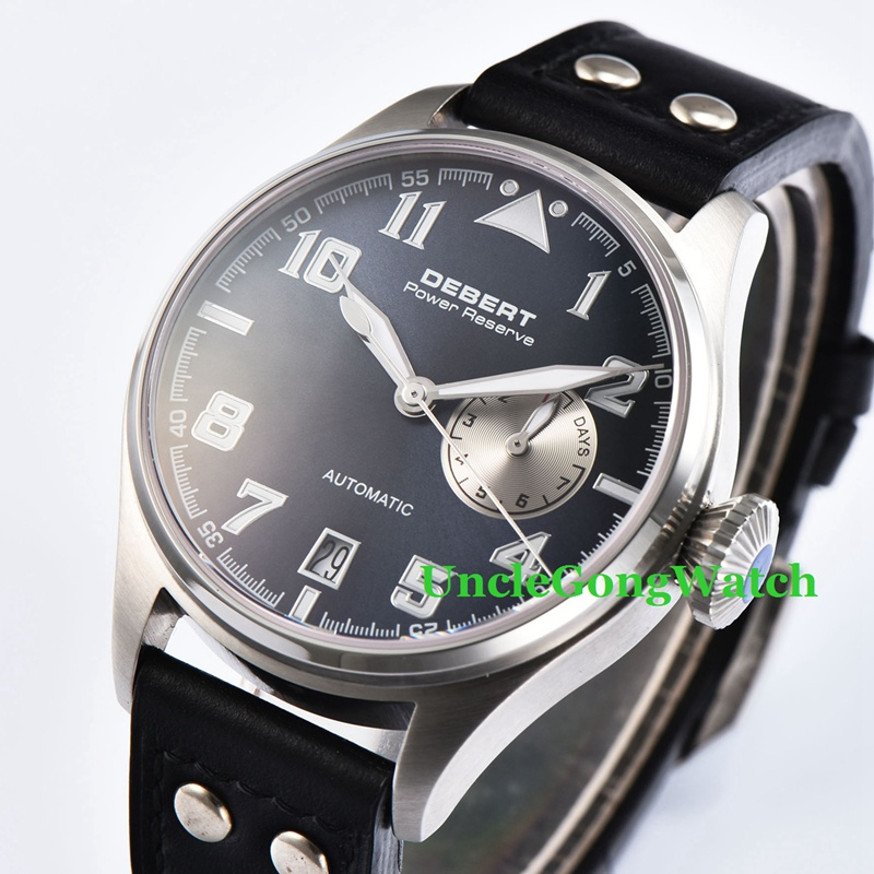 42mm DEBERT Mens Automatic Watches Black Rivets Leather Strap Relojes SS Case Blue Luminous Dial WristWatch DT7015BSL 42mm debert luminous black dial sapphire glass brown leather strap automatic mens watches