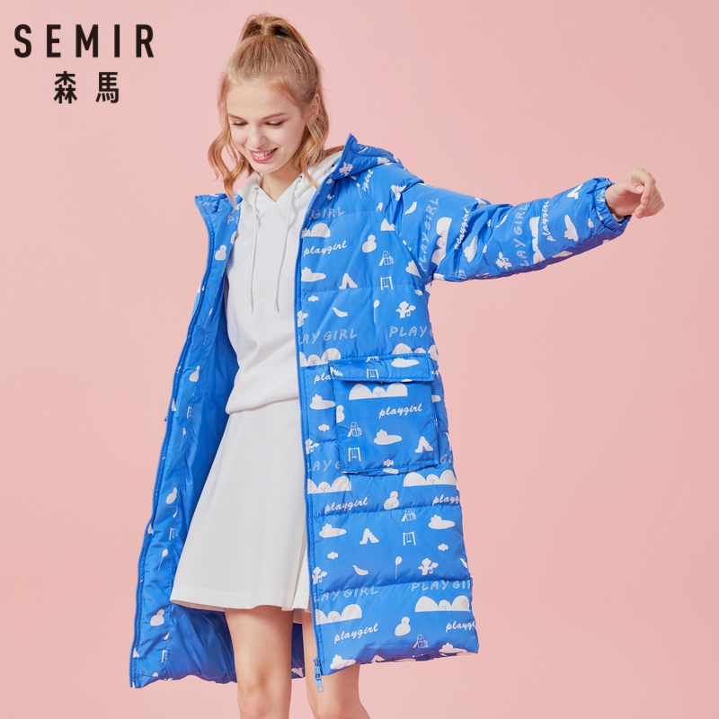 SEMIR Women Long   Down   Print Hooded   Coat   with Open Pocket Zip Closure   Down   Filling Puffer   Coat   with Lined Hood Elasticized Jacket