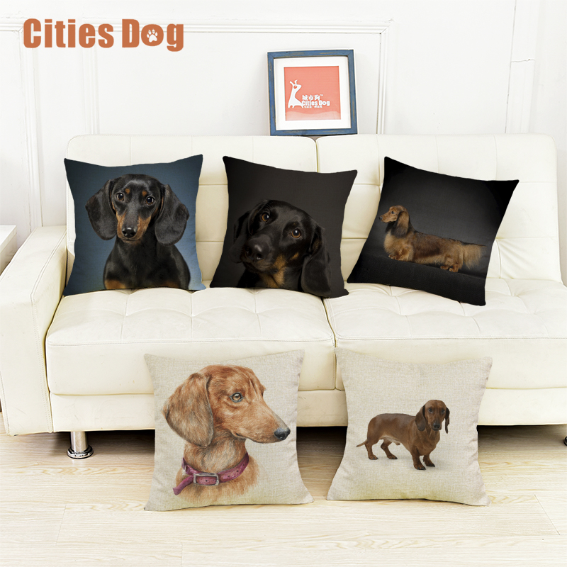 Dachshund dog Decorative Cushion cover Pillows coussin para el hogar decoracion linen animal throw Car Pillow almofada cojines