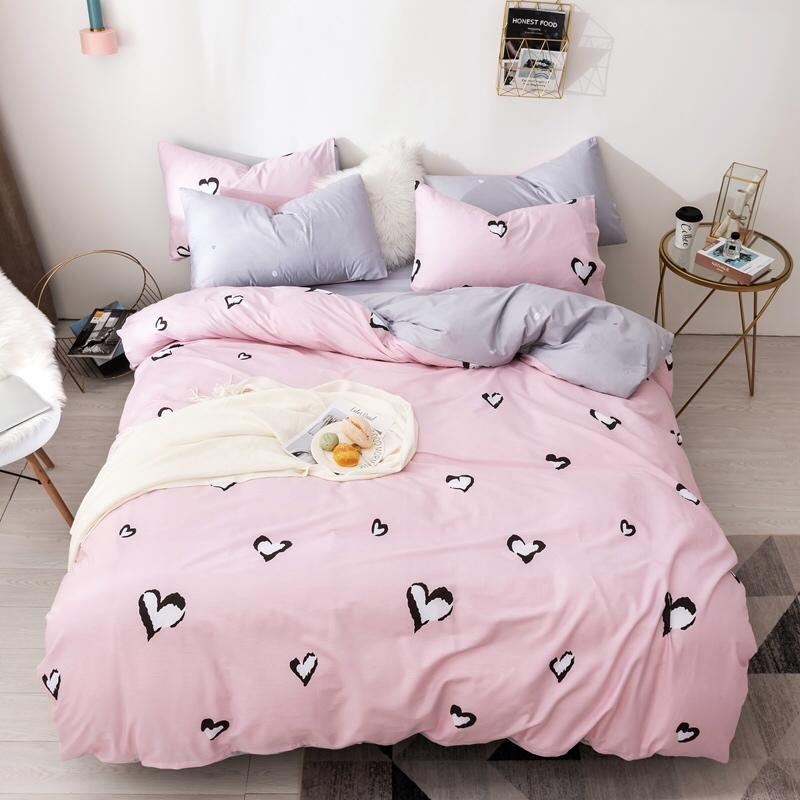 Sweetheart Bedding Set Pink Bed Set Luxury Cotton Bed Sheet Twin Queen King Size Duvet Cover Set Comfortable Bed Linen 3 stylesSweetheart Bedding Set Pink Bed Set Luxury Cotton Bed Sheet Twin Queen King Size Duvet Cover Set Comfortable Bed Linen 3 styles