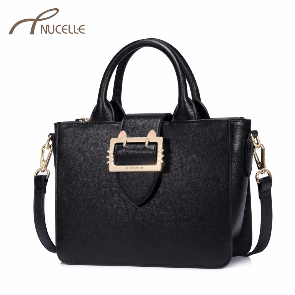 NUCELLE Women's PU Leather Handbags Ladies Fashion Cat Buckle Messenger Tote Purse Female Brief Wings Crossbody Bags NZ4154