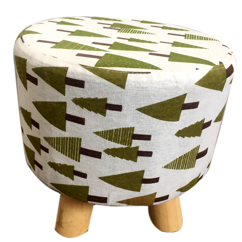 Creative Wood Children's Small Stool Multi-Function Modern Home Pastoral Living Room Bedroom Practical Fabric Simple Wood Stool